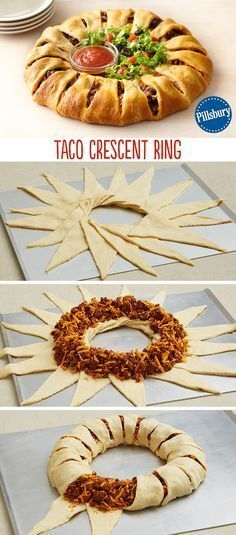 Create a new twist on a classic with this Taco Crescent Ring Dress it with fresh lettuce chopped tomatoes and salsa for a fun and easy weeknight dinner Serve for your fam. Think Food, I Love Food, Good Food, Yummy Food, Yummy Taco, Mexican Dishes, Mexican Food Recipes, Mexican Cooking, Crescent Roll Recipes