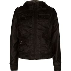 FULL TILT Sweater Hood Girls Faux Leather Jacket 227169127 | Jackets & Vests | Tillys.com