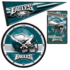 Philadelphia Eagles Ultimate Clock, Pennant and Wall Sign Gift Set
