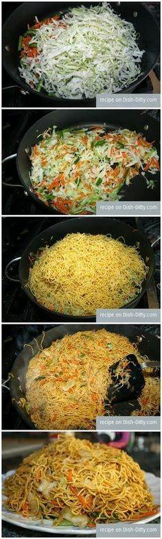 How To Vegetable Chow Mein - 1 Tbl oil 2 cups shredded cabbage 1 cup shredded carrots 1/2 bunch sliced green onions 1 lb fresh steamed thin chow mein noodles 1 cup chicken (vegetarian style) broth 1/4 cup soy sauce 1/4 cup sesame oil 1/4 cup lo mein sauce (vegetarian version) chinese food