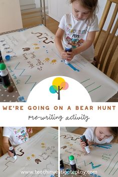'We're Going on a Bear Hunt' pre-writing activity idea for preschoolers. Check out the website for more details. Writing Activities For Preschoolers, Eyfs Activities, Nursery Activities, Toddler Learning Activities, Educational Activities, Activities For Kids, Toddler Games, Sorting Activities, Indoor Activities