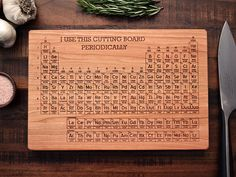 Hey, I found this really awesome Etsy listing at https://www.etsy.com/listing/125259624/periodic-table-engraved-wood-cutting I could use this for crafting not even a cutting board. Still its so cool