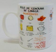 CANECA PORCELANA COM RECEITA BOLO CENOURA
