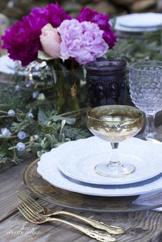 Gold, purple, peonies, Christmas table idea- with jewel tones