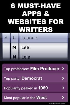6 Must-Have Apps and Websites for Writers. I will be investigating Nametrix and Moleskine!