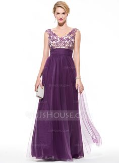 Empire V-neck Floor-Length Tulle Prom Dress With Ruffle Beading Appliques Lace Sequins (018075893)