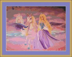 Princess And Pegasus Cross Stitch Pattern by AvalonCrossStitch