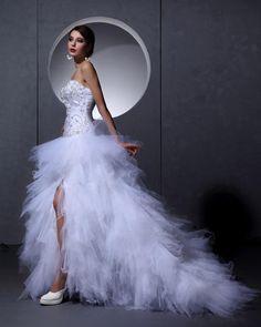 Satin Tulle Beading Floor Length Strapless Wedding Dress