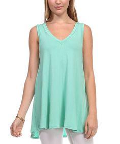 This Pistachio V-Neck Sleeveless Tunic by LARA Fashion is perfect! #zulilyfinds