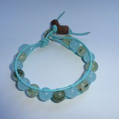 Genuine leather and gemstone wrap bracelet  £13.00