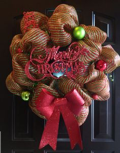 Merry Christmas Wreath - Kolbie Ann Etsy #ChristmasWreath #Wreath #DecoMeshWreath