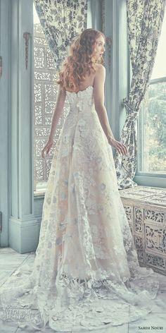 sareh nouri spring 2018 bridal strapless sweetheart neckline full embellishment ivory color romantic modified a  line wedding dress chapel train (chelsea) bv -- Sareh Nouri Spring 2018 Wedding Dresses