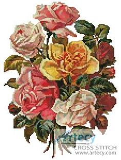 Victorian Roses Bouquet cross stitch pattern.