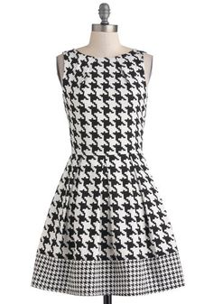Not polka dot, but come on, you and  houndstooth are like peanut butter & jelly... Audrey's Top of the A-line Dress in Houndstooth, #ModCloth