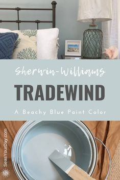 Sherwin-Williams Tradewind Paint Color - Seas Your Day - - Sherwin-Williams Tradewind Paint Color is among the most popular coastal paint colors preferred by interior designers. Bedroom Paint Colors, Home, Bedroom Makeover, New Homes, Bedroom Paint, Paint Colors, Room Colors, Room Paint, House Colors