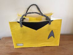 #startrek #yellowshirt green - Reusable shopping bag made out of 44 recycled single use plastic bags!! The real green choice in reusable bags. www.ReMaterialise.co.nz