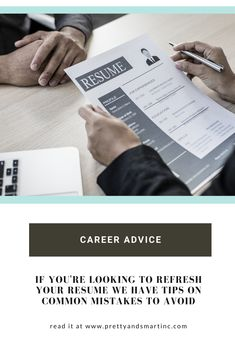 Resume tips. Resume mistakes to avoid. Things to look for when writing your resume. #careeradvice #resumehacks #workingmom #wfh #prettyandsmart Resume Tips, Career Advice, Finance Tips, Mistakes, Branding, Writing, Pretty, Blog, Career Counseling