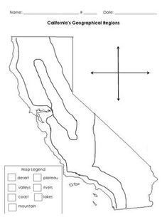 This is used to further help struggling students with fine motor skills to locate where the geographical regions with California are. Regions are already drawn in with borders. Legend and Compass included. California Regions, California History, California Map, Social Studies Projects, 3rd Grade Social Studies, Teaching Second Grade, Map Skills, Map Outline, Schoolgirl Style
