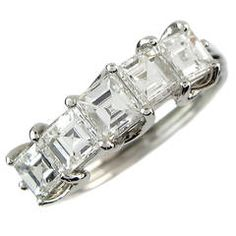 Square Step Cut Diamond Platinum Eternity Ring ............ $9,689