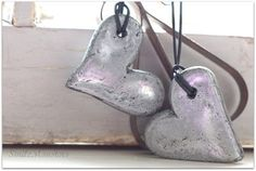 Faux Silver Hearts -- Salt Dough!: 1 cup flour, 1/2 cup salt, 1/2 cup water. Spray painted with Rustoleum Bright Coat Metallic Finish.