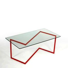"""fresh zig-zag supports this ultra-modern coffee table. 18""""x36""""x16"""", powder coated steel frame & tempered glass top"""