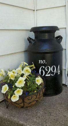 Milk Can and Metal Basket Flower Display