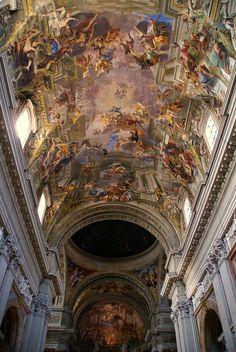 Rome, Sant'Ignazio di Loyola, Trompe-l'oeil ceiling fresco by Andrea Pozzo.