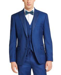 Alfani Men's Slim-Fit Stretch Blue Twill Suit Jacket, Created For Macy's - Blue Blue Tuxedo Jacket, Tuxedo Suit, Tuxedo For Men, Tuxedo Jackets, Black Tuxedo, Suit Jackets, Blue Suit Wedding, Wedding Suits, Mens Wedding Tux
