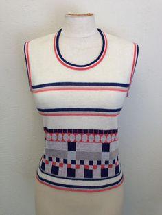 56cd73ce82 Vintage 1960s Sweater Vest Sz M L Sears 60s Ivory Stripe Square Mod Medium  Large  Sears