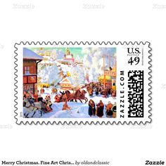 """Fine Art Christmas Postage Stamps. """"Shrove-Tide"""" (Maslenitsa), Oil Painting, early 20th century. Artist: Boris Kustodiev. Matching cards, postage stamps and other products available in the Christmas & New Year / Fine Art / Russian Christmas Category of the oldandclassic store at zazzle.com"""