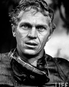 Steve McQueen after a motorcycle race across the Mojave desert 1963
