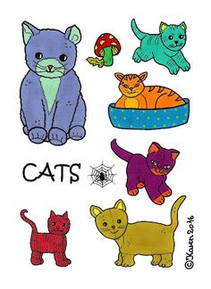 Karen`s Paper Dolls: Cats to Print in Colours. Katte til at printe i farver.