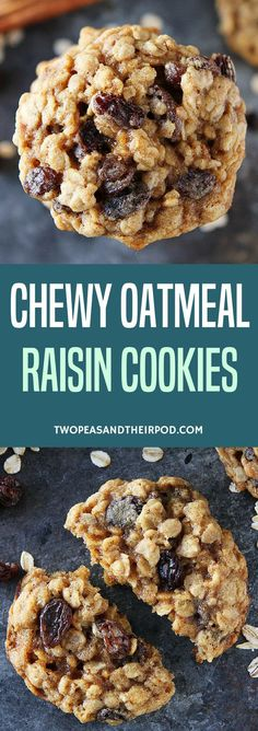 Chewy Oatmeal Raisin Cookies-the BEST oatmeal raisin cookie recipe! They are so soft and chewy! #cookies #oatmealraisin #baking #raisins #oatmeal