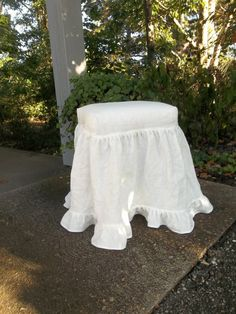 Ruffled Slipcovered Stool and Washed Linen Slipcover by misshettie