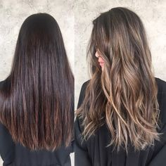 Before and after by @alexaa3 done in Gilbert AZ @habitsalon Brown to blonde sombre