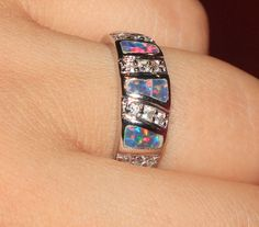 fire opal Cz ring Gemstone silver jewelry Sz 7.75 exquisite modern band R082E