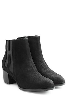 Hogan's little suede booties are ideal for unpredictable weather. The small heel is easy to walk in, while the black hue is chic but super practical Suede Booties, Hue, Walking, Weather, Booty, Easy, Black, Fashion, Suede Ankle Boots