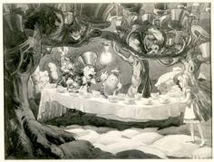 Vintage Disney Alice in Wonderland: David Hall Story Art Stills - A Mad Tea Party   David Hall - Disney concept art, His work was rejected for the 1951 film Alice in Wonderland because it was seen as too dark.