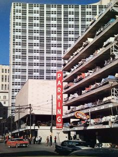I wish carparks still looked like this. Fort Worth, Old Pictures, Golden Gate Bridge, Dallas, Entrance, Times Square, Multi Story Building, Tours, Park