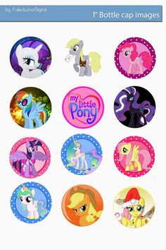 "Free Bottle Cap Images: My Little Pony free digital bottle cap images 1"" 1..."