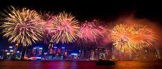 China National Day Fireworks Displays at Victoria Harbour, Hong Kong