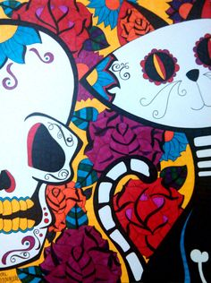 Sugar Skull Cat and Skull, 9x12 Sharpie Drawing, Day of the Dead Cat Dia De Los Muertos, Original Colorful Alternative Gift, Cat Home Decor