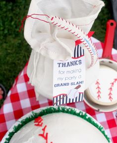 """Personalized gift bags from a """"Slugger Sleepover"""" Baseball Birthday Party on Kara's Party Ideas 