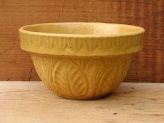 "Small 5"" Yellow Ware Bowl-leaf design-super mustard color."