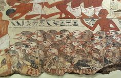 Nebamun's geese are driven up for his inspection while scribes tally their numbers - detail. From the wall paintings of the tomb of Nebamun, a wealthy accountant in the Temple of Amun at Thebes circa 1350BC. British Museum, London.