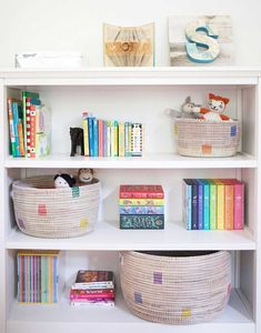 Our Rainbow Dot Knitting Baskets are perfect for stacking and decorating. Toy Rooms, Kids Rooms, Decoration Bedroom, Nursery Decor, Bookshelves Kids, Knit Basket, Ikea, Floating, Big Girl Rooms