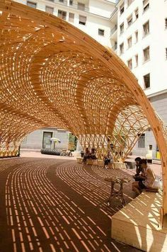 A wooden structure creating beautiful play of light and shadow