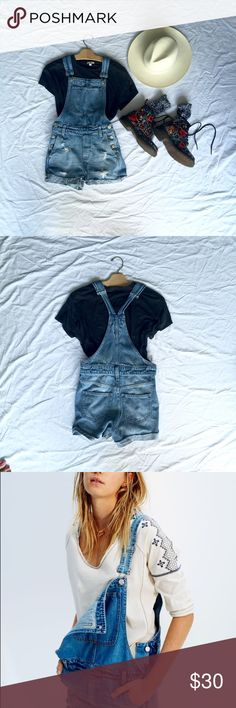 Madewell Shorty Denim Overalls Distressed Denim Shorty Overalls.  Great with boots and a long cardigan for fall! Madewell Jeans Overalls