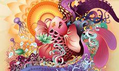 Design Process of Koi Illustration - Web Designer Wall - Design Trends . Art And Illustration, Technical Illustration, Illustrations, Illustration Techniques, Koi Kunst, Koi Art, Fish Art, Character Design Cartoon, Koi Fish Tattoo