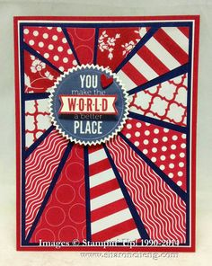 This Starburst Patriotic card is a variation of the starburst technique and was made using red, white and blue to fit the Operation Write Home Memorial Day 2014 Bloghop theme by Sharing Creativity and Company.